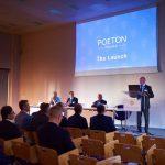 Poeton Managing Director Darren Burge presenting on stage at Polska launch