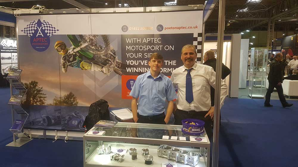 Aptec team on stand at the Autosport show