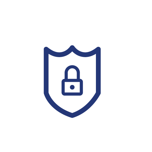 A lock icon on a shield for toughness