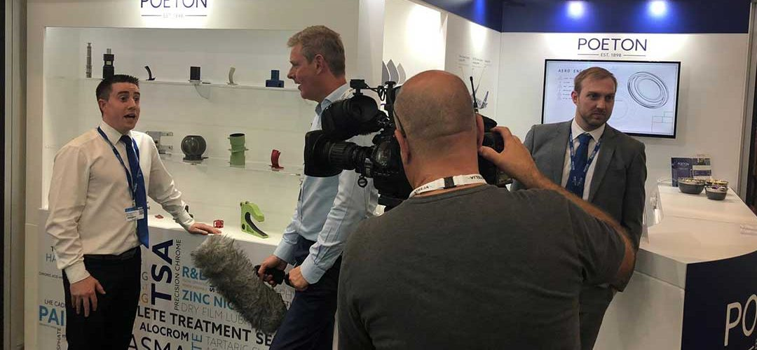 Poeton being interviewed for BBC television at Paris Air Show